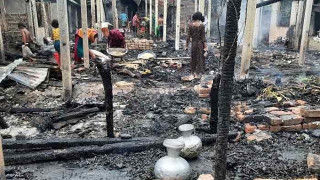 নাসিরনগরে ভয়াবহ অগ্নিকাণ্ডে ১০ টি ঘর আগুনে পুড়ে ব্যাপক ক্ষয়ক্ষতি